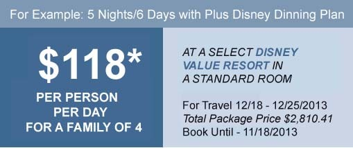 Disney world christmas 2013 packages for Best vacation deals in december