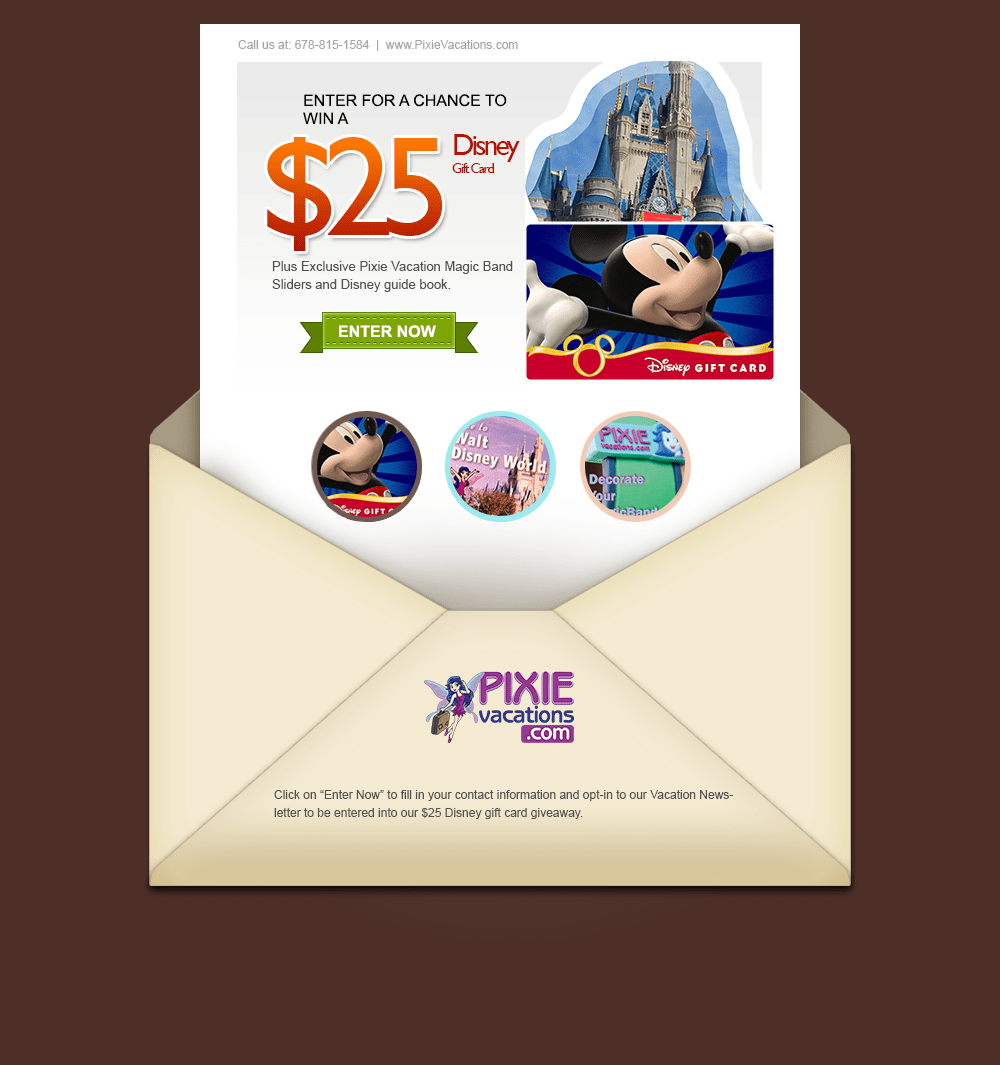 Disney Gift Card Drawing Pixie Vacations